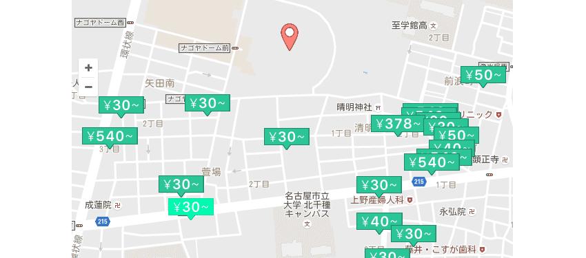 ナゴヤドーム近くのakippa駐車場の料金