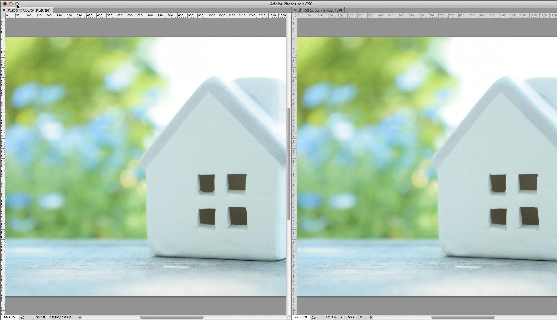 同じ編集データを2画面で表示している画像